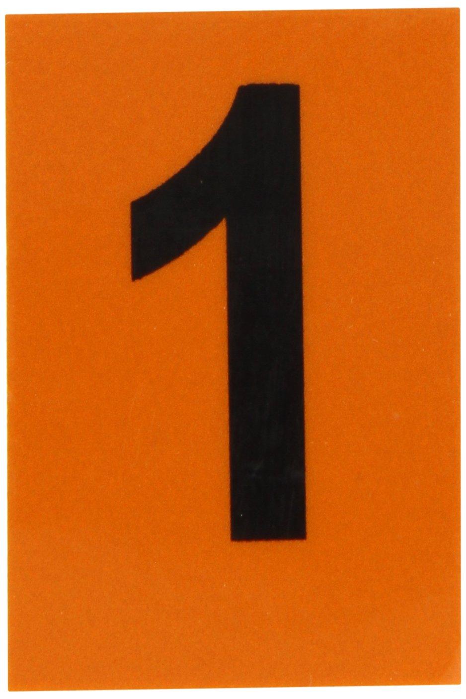 B-997 Sheeting Brady 5910-1 Bradylite 1-1//2 Height 1 Width Black On Orange Color Reflective Number Legend 1 Pack Of 25