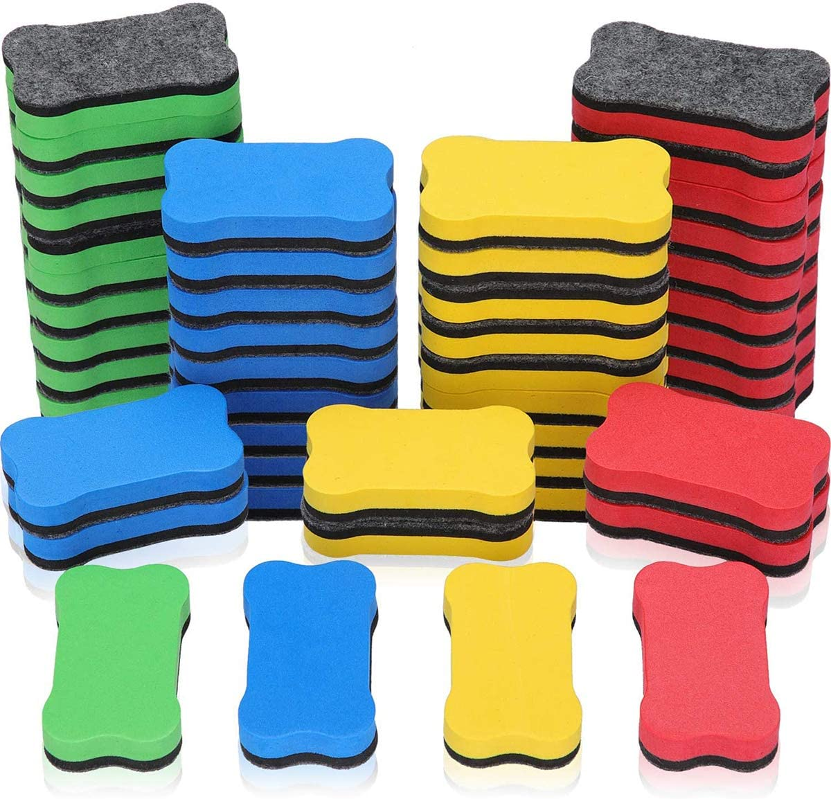 48 Pieces Magnetic Whiteboard Eraser Office Erasers Bone-shaped Dry Erasers Fit for School, Home and Office, Red, Yellow, Blue and Green