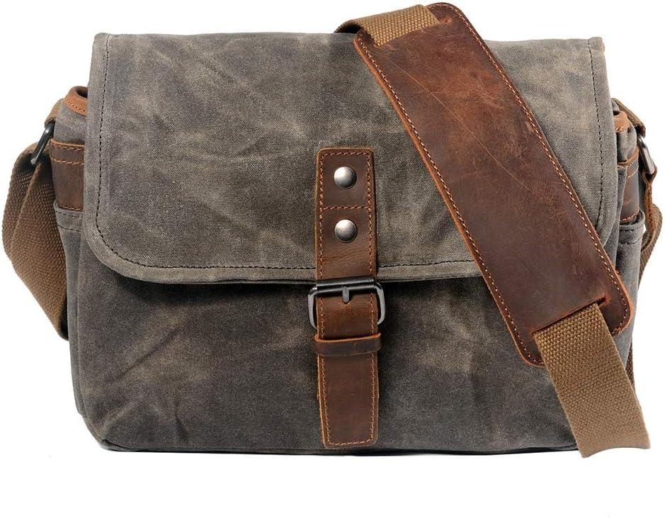 Waterproof and Shockproof for Digital Cameras Tablets Phones Vintage Canvas Leather DSLR SLR Digital Bag MSQL Camera Shoulder Messenger Bag
