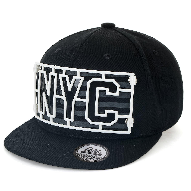 ililily Cotton Plastic NYC Patch Baseball Cap Flat Bill Snapback Trucker Hat 25b5801e3b5