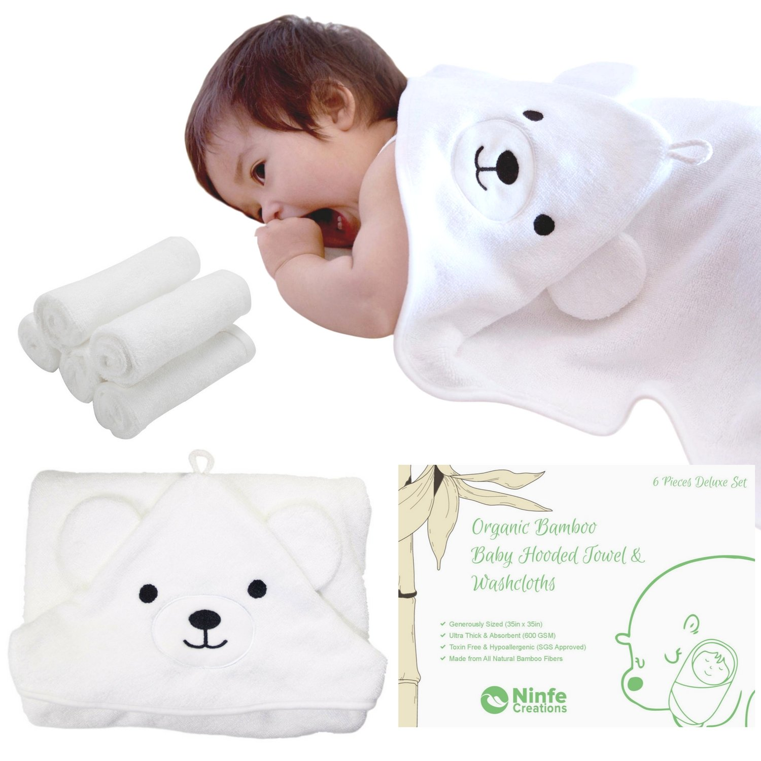 600 GSM Bamboo Baby Hooded Towel & 5 Pcs Washcloths Set - 100% Organic, Ultra-thick, Fluffy & Cozy - for Newborns, Toddlers and Kids