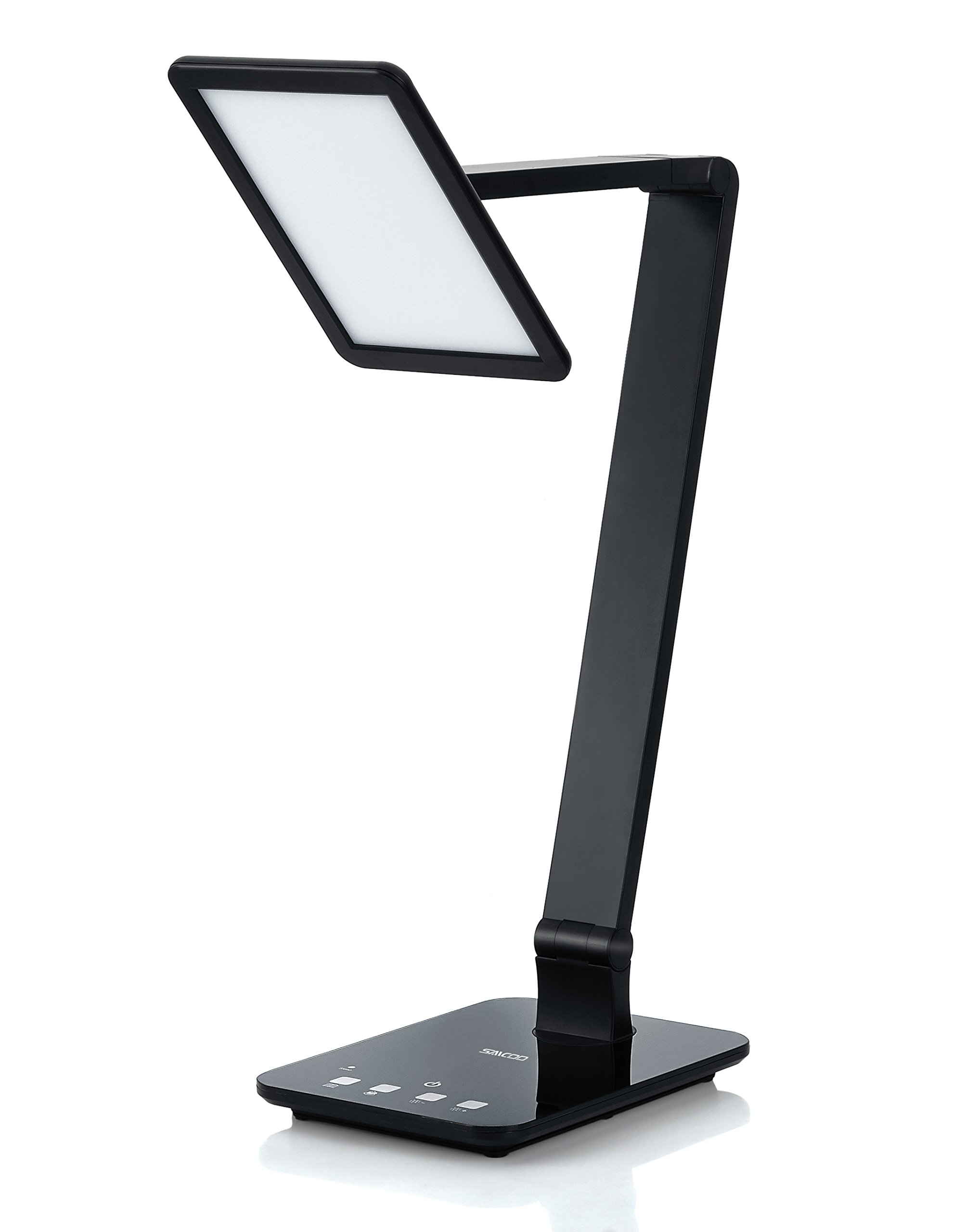 Saicoo Led Desktop Lamp with Large Led Panel, Seamless Dimming Control of Brightness and Color Temperature, an USB Charging Port, Black by saicoo