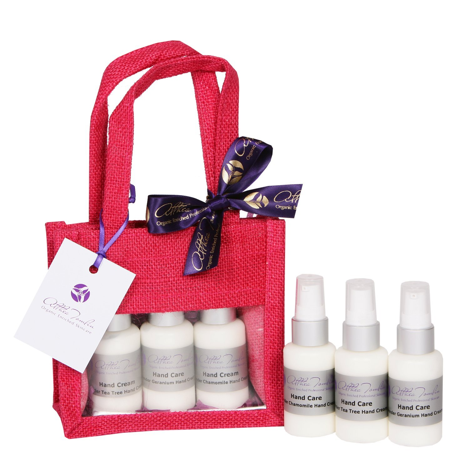 Christmas hand cream gift sets with organic lavender infused hand cream sets a hand care gift set for women with Lavender Chamomile Tea Tree and Geranium lavender hand and nail cream set for dry rough hands in a reusable eco-friendly natural hessian bag. A