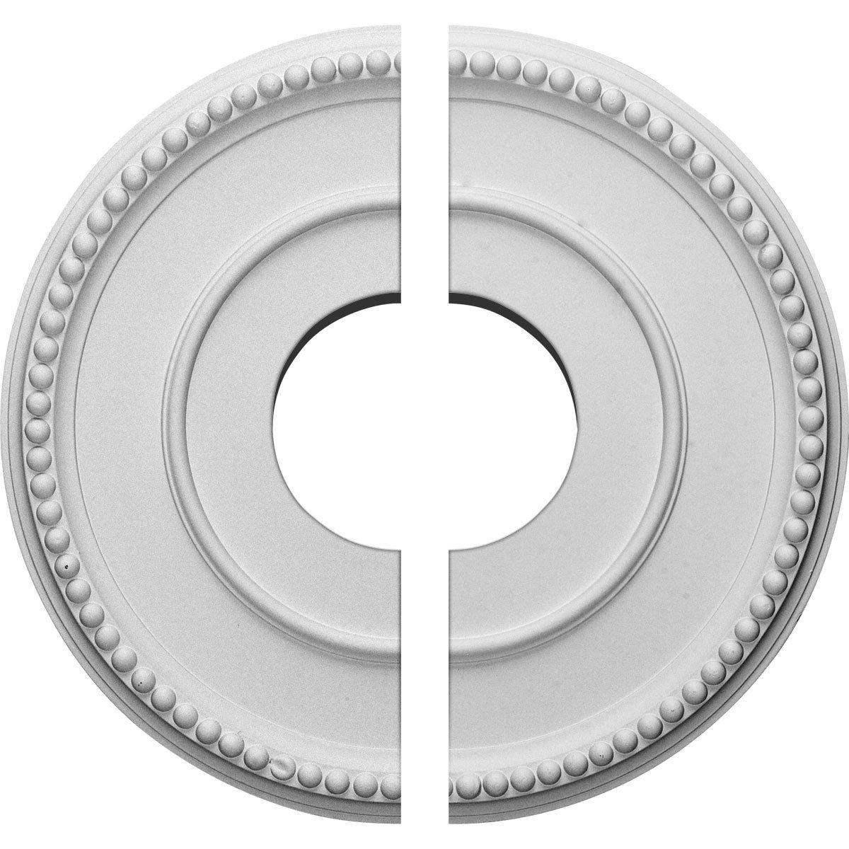 Ekena Millwork CM12BR2 12 1/2''OD x 3 7/8''ID x 3/4''P Bradford Ceiling Medallion, Fits Canopies up to 6-5/8'', 2 Piece by Ekena Millwork