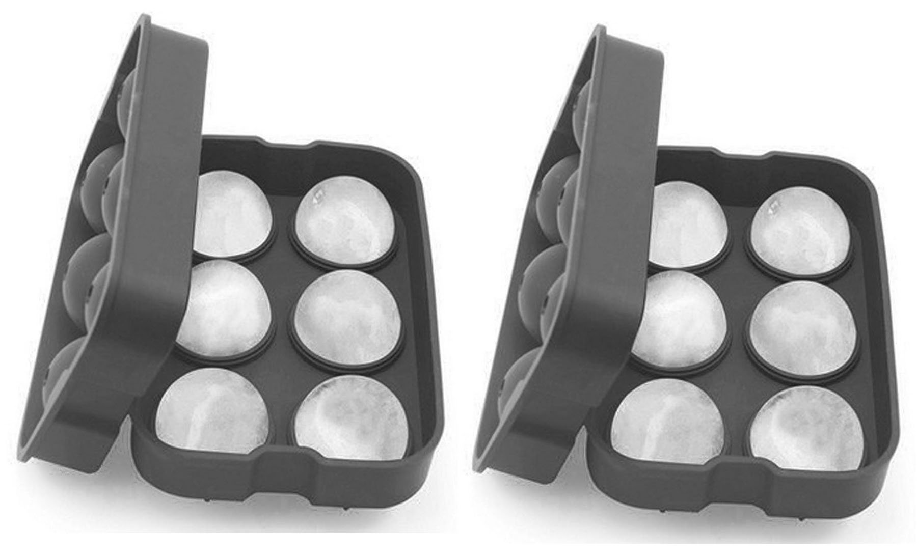 SimplexSilicone Premium Ice Ball Maker Mold - 4.5cm Ice Balls - Silicone Ice Sphere Tray - Enjoy Chilled Drinks (Whiskey, Cocktail, Coffee, Tea, Water) Without Dilution - Set of 2 (Ocean Grey)