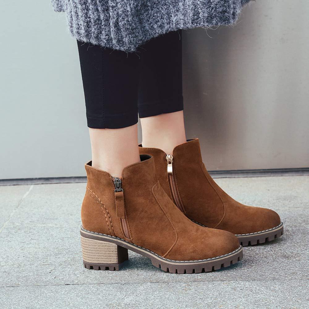 Frauen Einfache Chelsea Stiefel 2018 Herbst Winter Wildleder High Heel Heel Heel Stiefeletten Große Größe 40-43 Kurze Stiefel e952db
