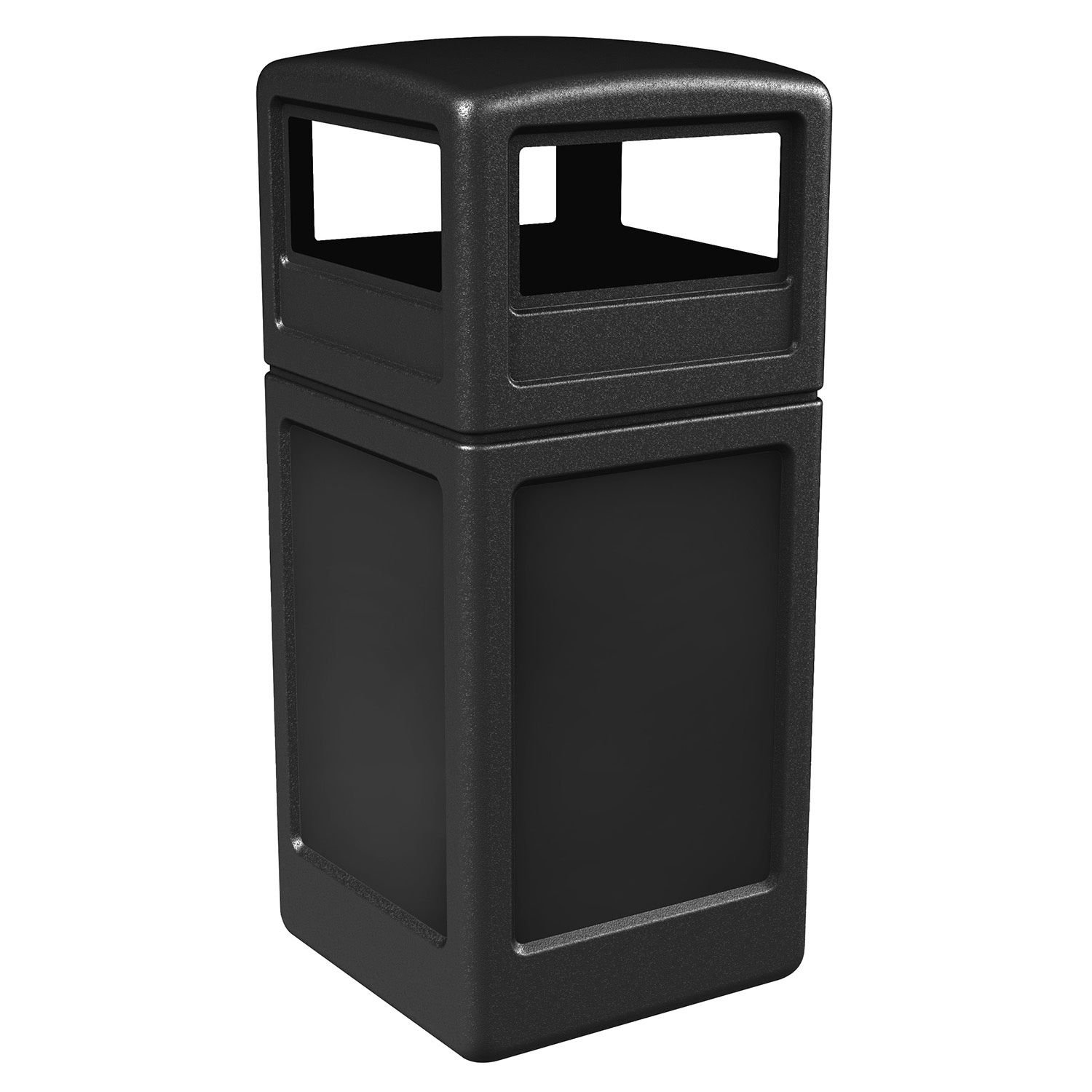 Commercial Zone Square Waste Container with Dome Lid Polyethylene 42 gal Black