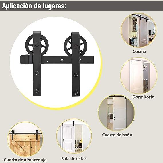 HOMCOM Puertas Kit de Accesorios para Puerta Correderas de Granero Puerta Montaje Juego de Piezas de Metal Rodillo Rieles Acero de Carbono: Amazon.es: Juguetes y juegos