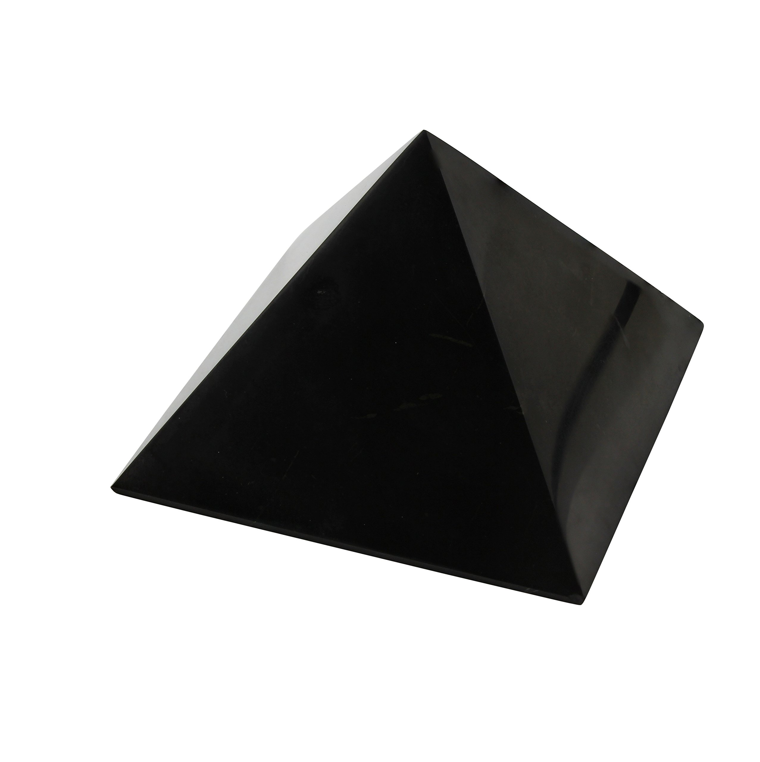 Shungite Pyramid 8 cm (3.15''): Guaranteed Authentic Highest Quality Russian Natural Healing Stone from Karelia - EMF Radiation Protection, Chakra Balancing, Handmade Decoration, Purification Stones