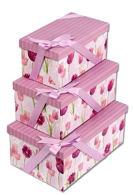 Regalpap Set 3 cajas cartón forrada lazo 26x27x12