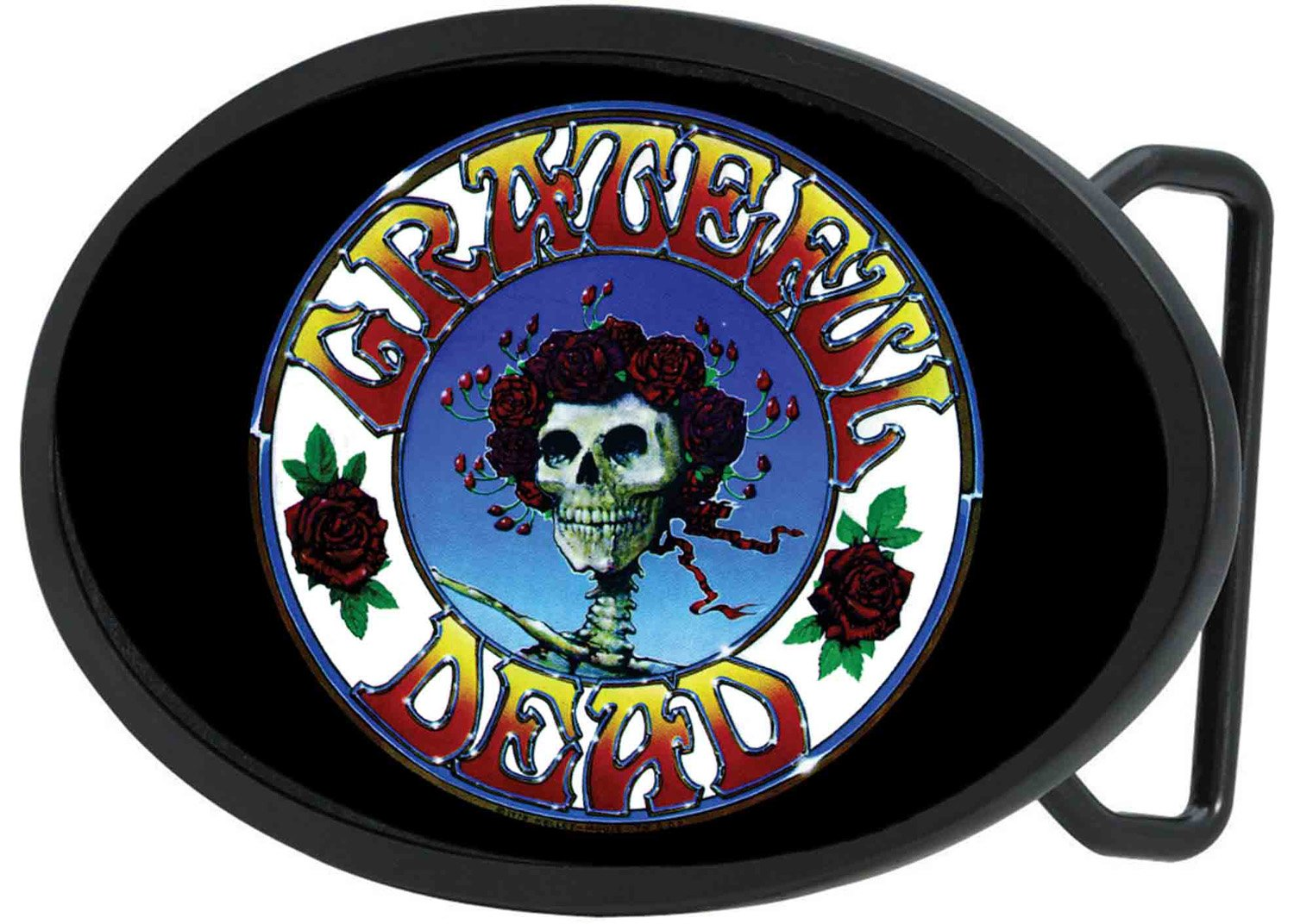 Grateful Dead Psychedelic Rock Band Rose Covered Logo Rockstar Belt Buckle Buckle Down