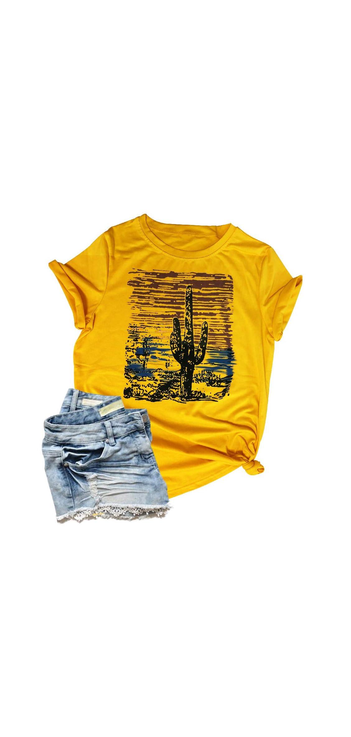 Western Tees For Women Vintage Cactus Shirt Retro Sunset