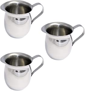 Set of 3 Bell Creamers, Mirror Finish Stainless Steel, Wide Mouth with Pouring Spout (5 OZ)