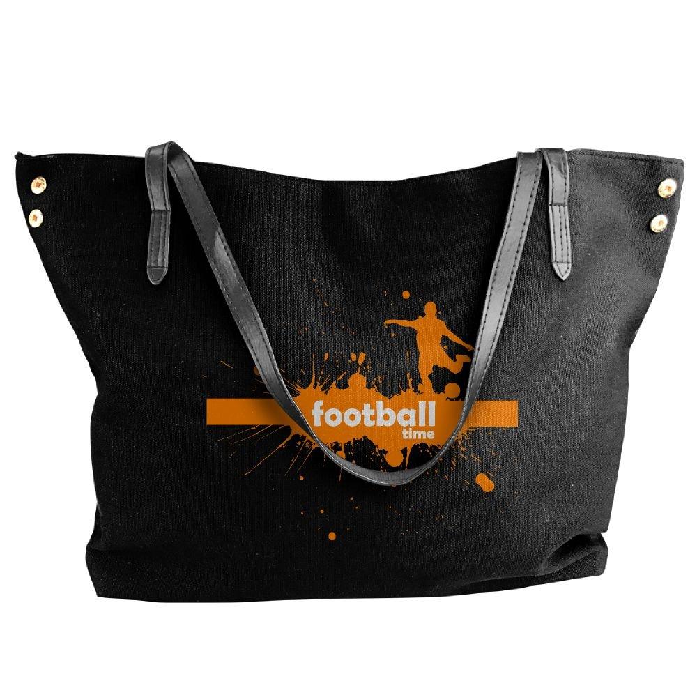 Football Time Women Handbags Hobo Shoulder Bags Tote Canvas Handbags Fashion Large Capacity Bags Black
