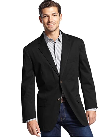 Tasso Elba Men's Big & Tall Black Linen Sport Coat Blazer LT at ...