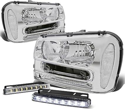 CHROME CLEAR HEADLIGHT+CLEAR CORNER LAMPS+6000K SILM HID FOR 02-09 TRAIL BLAZER