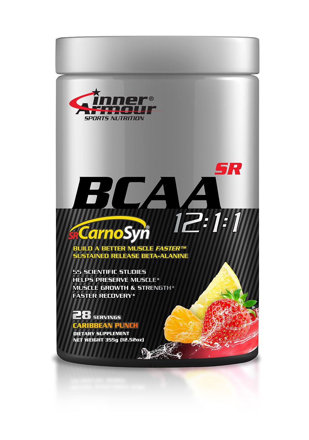 Inner Armour BCAA with SR CarnoSyn®, Caribbean Punch | Sustained Release Beta-Alanine, Improved Muscle Retention of Carnosine | 28 Servings