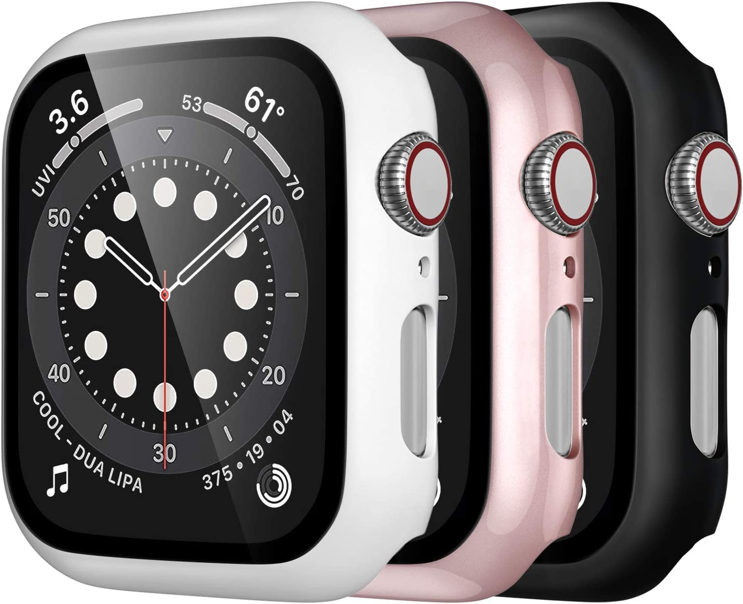 Mastten 3-Pack Case Compatible with Apple Watch Case Series 3 38mm, Bumper Protective Cover Compatible with Apple Watch Screen Protector 38mm with HD Tempered Glass, Black, Rose Gold, White