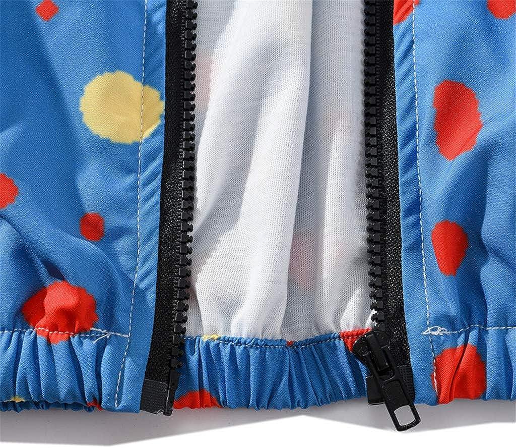 OWMEOT Mens Fashion Polka Dot Printed Long-Sleeve Hoodie Coat Sports Sweatshirt Coat Top Blouse