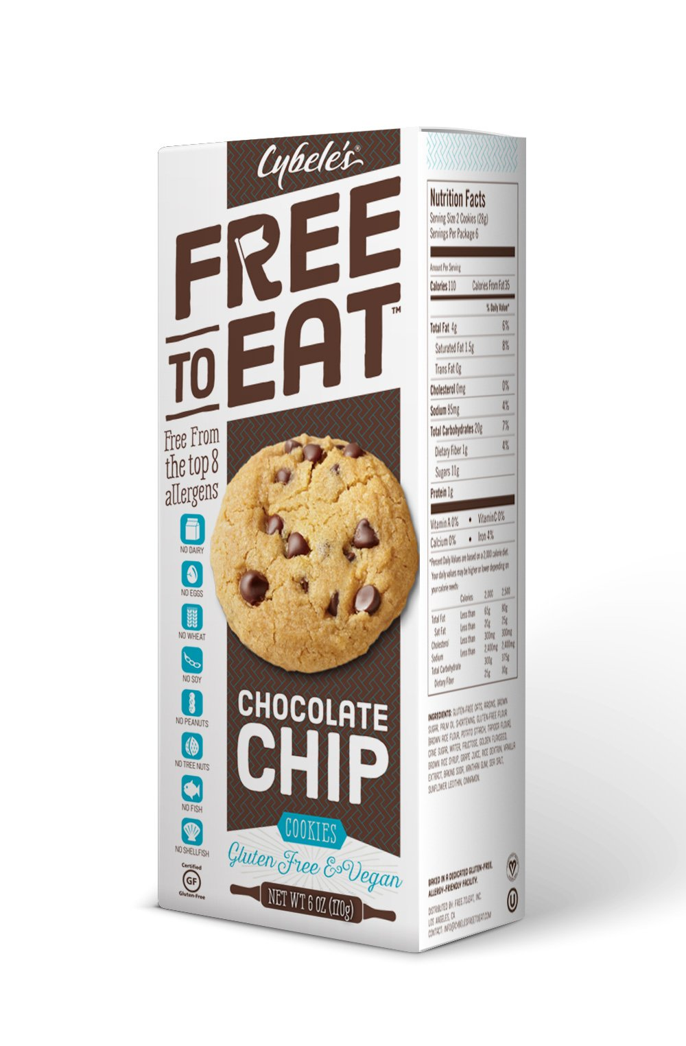 Cybele's Free to Eat Cookies, Chocolate Chip, 6 Ounce (Pack of 6) by FREE TO EAT
