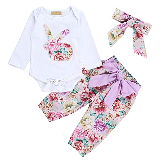 ab898308aacc Newborn Baby Girls Easter Romper Set Cute Bunny Print Bodysuit Jumpsuit  Floral Halen Pants with Headband