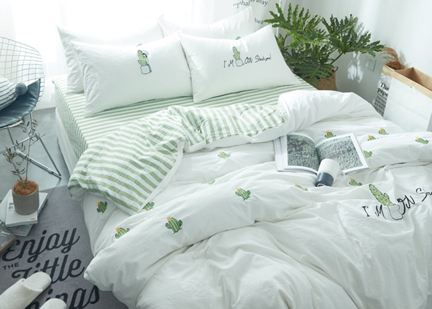 Cactus Embroidery Bedding Sets - MeMoreCool 100% Cotton AB Version Green Style Girls Gifts Duvet Cover and Fitted Sheet 3PC Twin