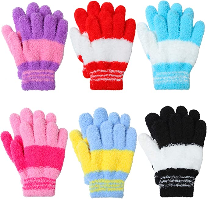 6 Colors Winter Warm Gloves Girl Boy Kids Magic Gloves/&Mittens Stretchy Knitted