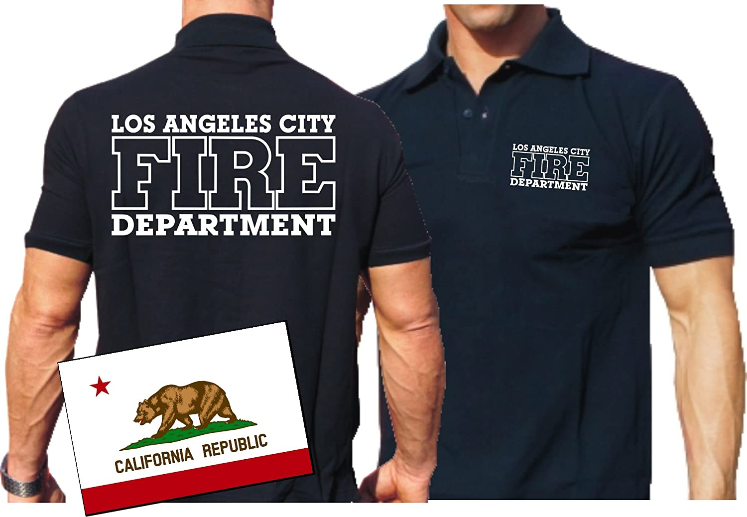 Poloshirt navy, Los Angeles City Fire Department feuer1
