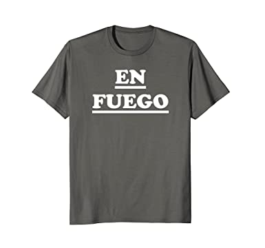 Mens En Fuego- On Fire- Funny Spanish Camiseta T-Shirt 2XL Asphalt
