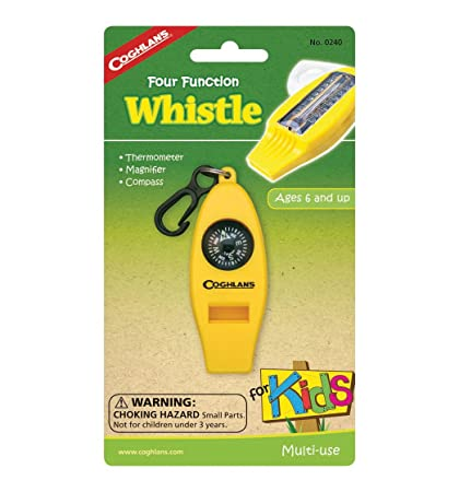 Coghlans Four Function Whistle for Kids Yellow Thermometer Magnifier 6-Pack