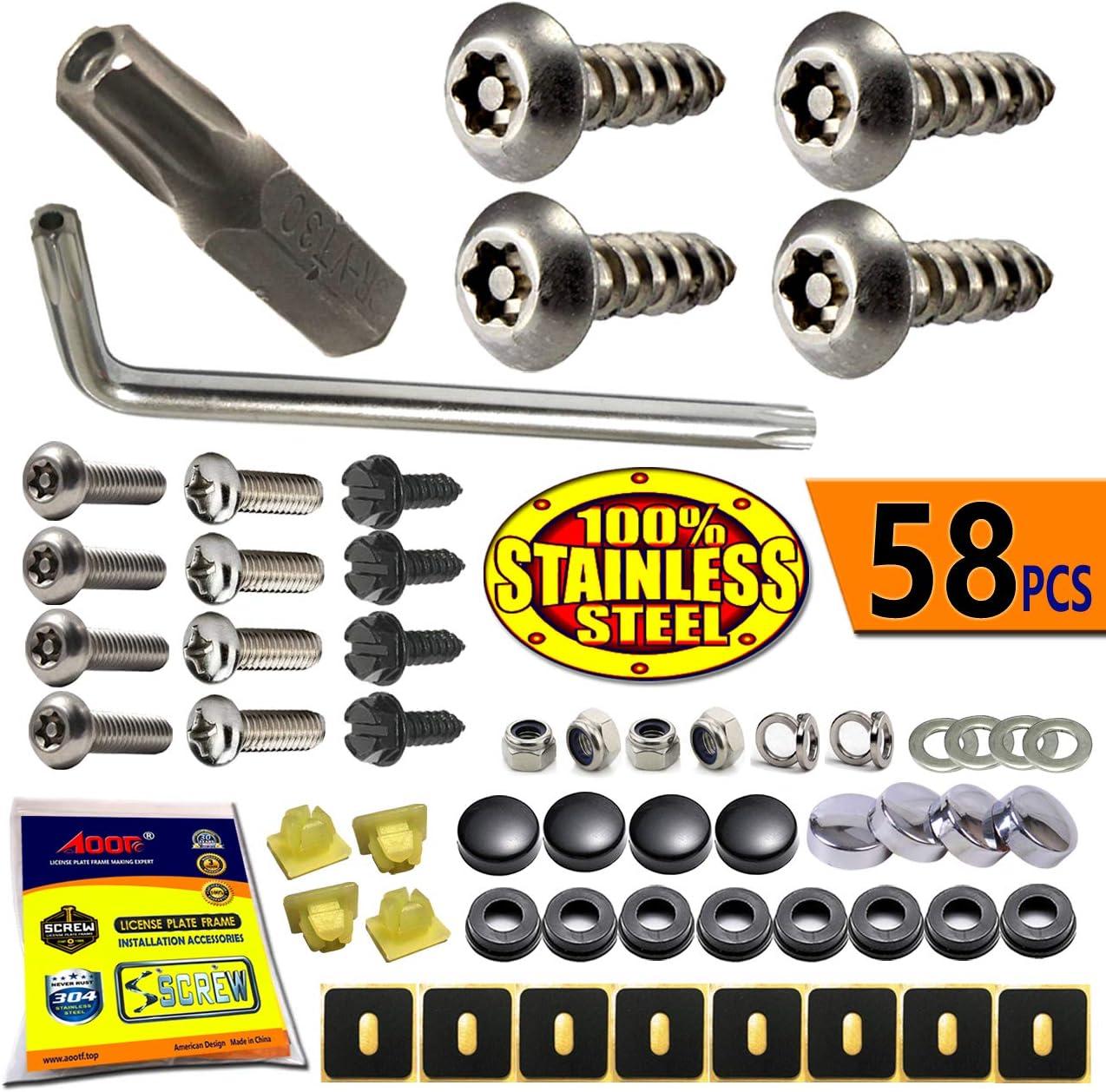 Stainless Steel License Plate Frame Screws Fasteners Ultimate Kit Domestic Im...