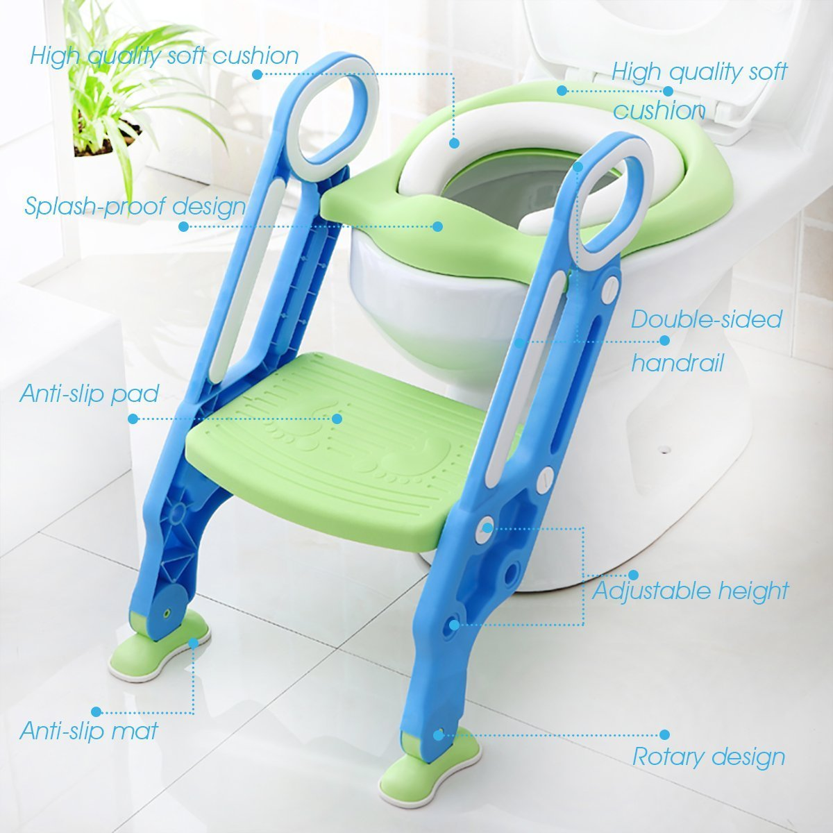 Mangohood Potty Training Toilet Seat with Step Stool Ladder for Boy and Girl Baby Toddler Kid Children's Toilet Training Seat Chair with Soft Padded Seat and Sturdy Non-Slip Wide Step (Blue Green) by Mangohood (Image #8)