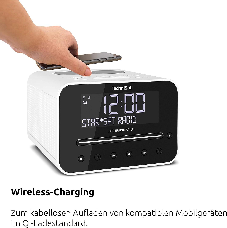 Technisat Digitradio 52 Cd Stereo Dab Radiowecker Mit Zwei Einstellbaren Weckzeiten Dab Ukw Snooze Sleeptimer Dimmbares Display Bluetooth Wireless Charging Funktion Cd Player Weiß Heimkino Tv Video