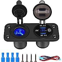 Thlevel QC 3.0 Auto USB Oplader Socket Sigarettenaansteker Socket 12 V/24 V Stopcontact met LED Digitale Voltmeter en…