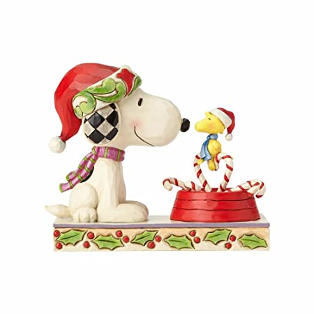 Enesco Peanuts by Jim Shore Snoopy and Woodstock with Candy Canes Stone Resin, 5 Figurine