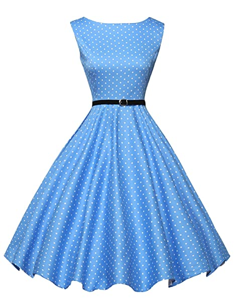 Rockabilly Dresses | Rockabilly Clothing | Viva Las Vegas Australia- GRACE KARIN Boatneck Sleeveless Vintage Tea Dress with Belt AUD 33.68 AT vintagedancer.com