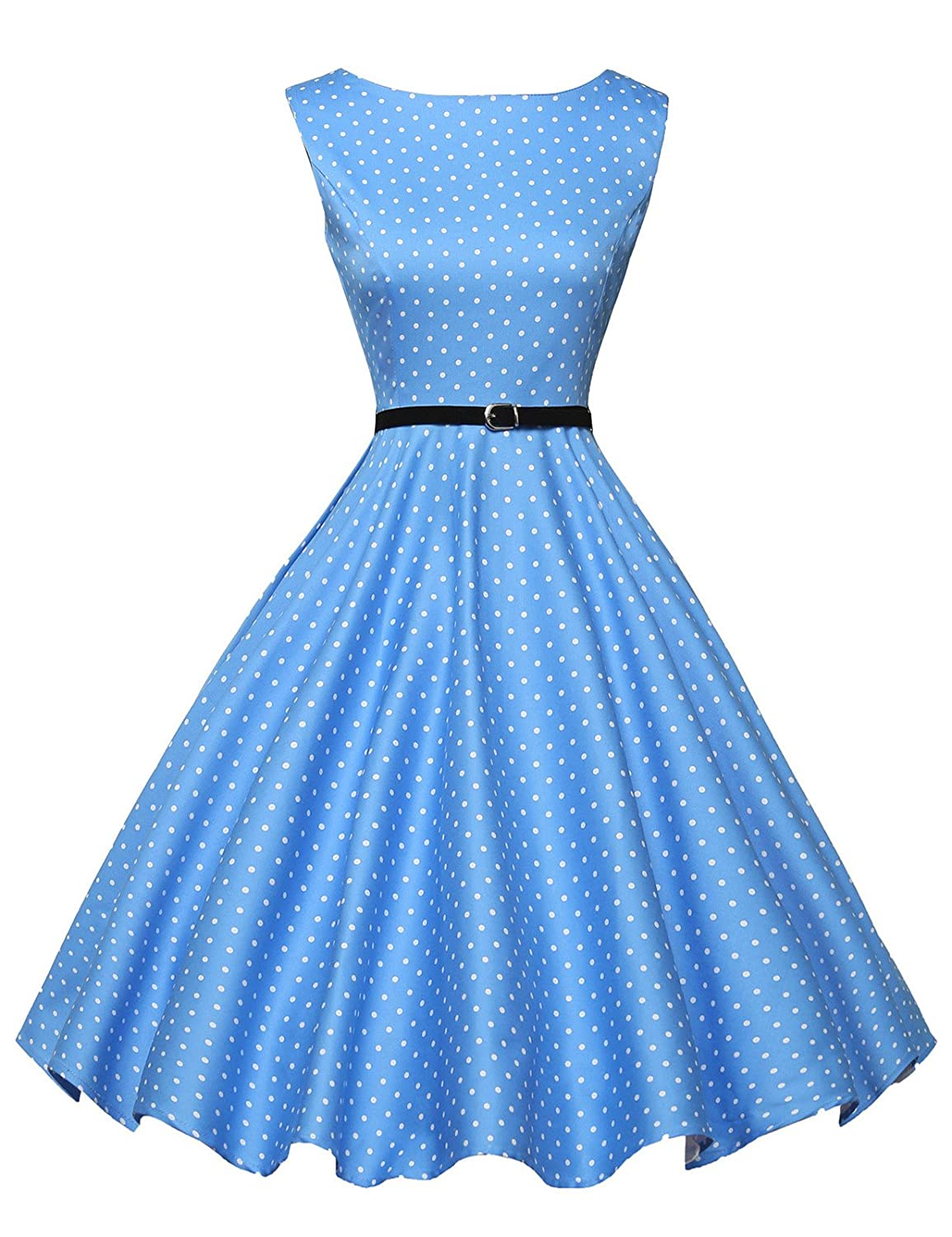 Vintage Polka Dot Dresses – Ditsy 50s Prints GRACE KARIN BoatNeck Sleeveless Vintage Tea Dress with Belt $30.99 AT vintagedancer.com