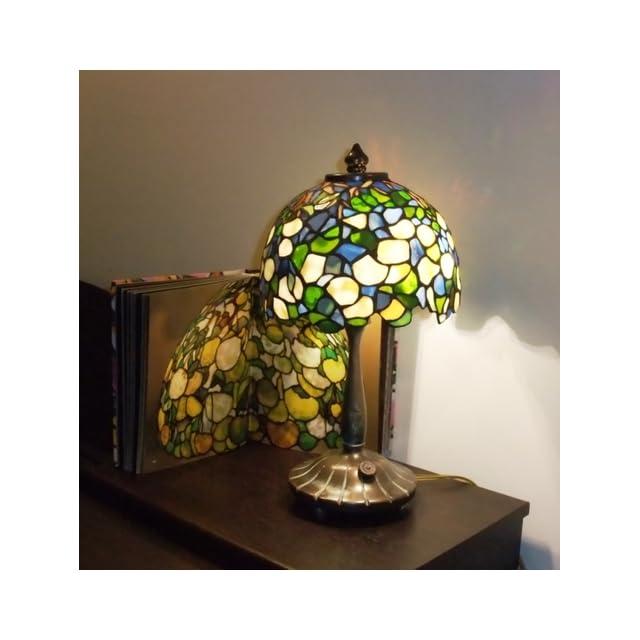 Dale Tiffany 101206 Hydrangea Mini Table Lamp, Antique Bronze and Art Glass Shade