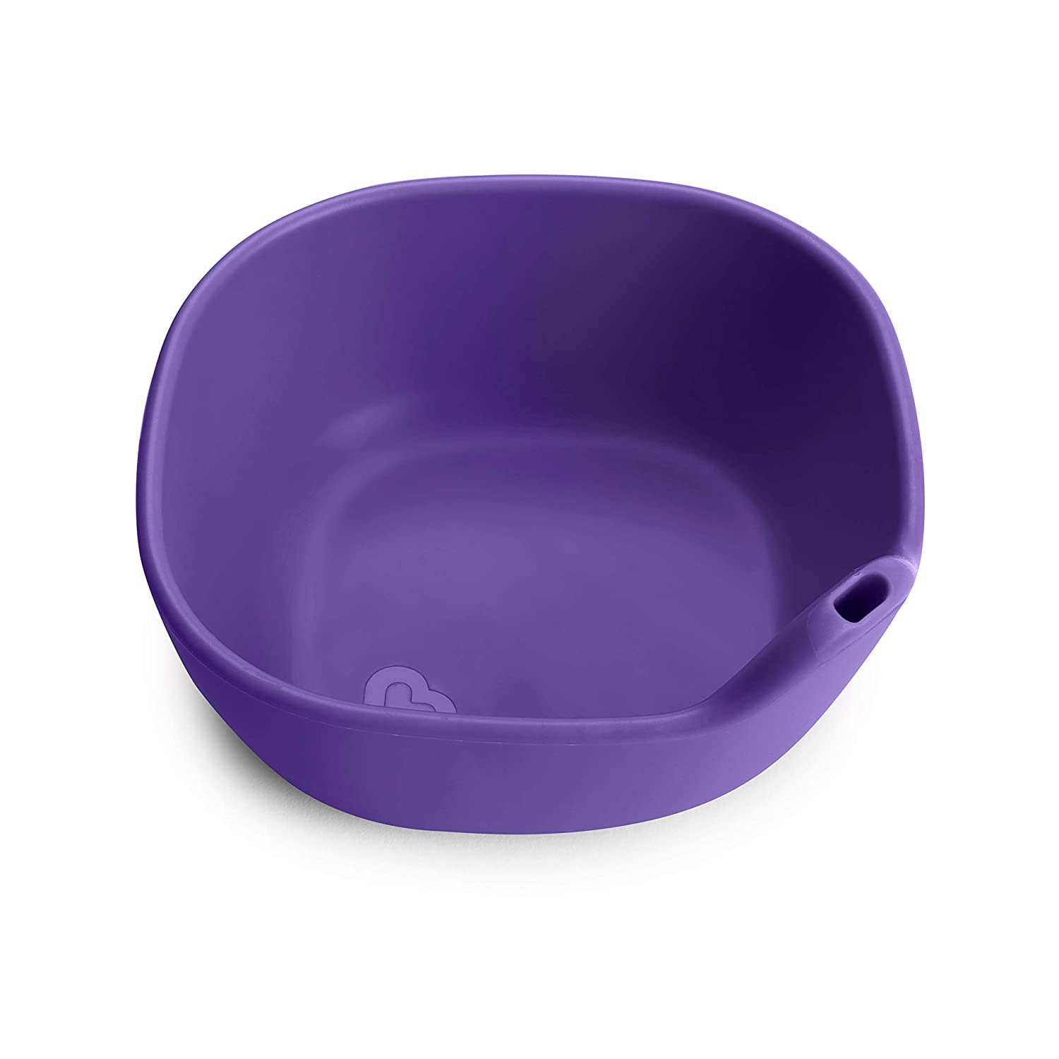 Munchkin Last Drop Silicone Toddler Bowl with Built-In Straw, Purple