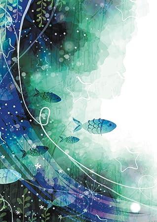 Amazonアートデリ ポスター Dxポスター イラストのポスター 幻想的 魚