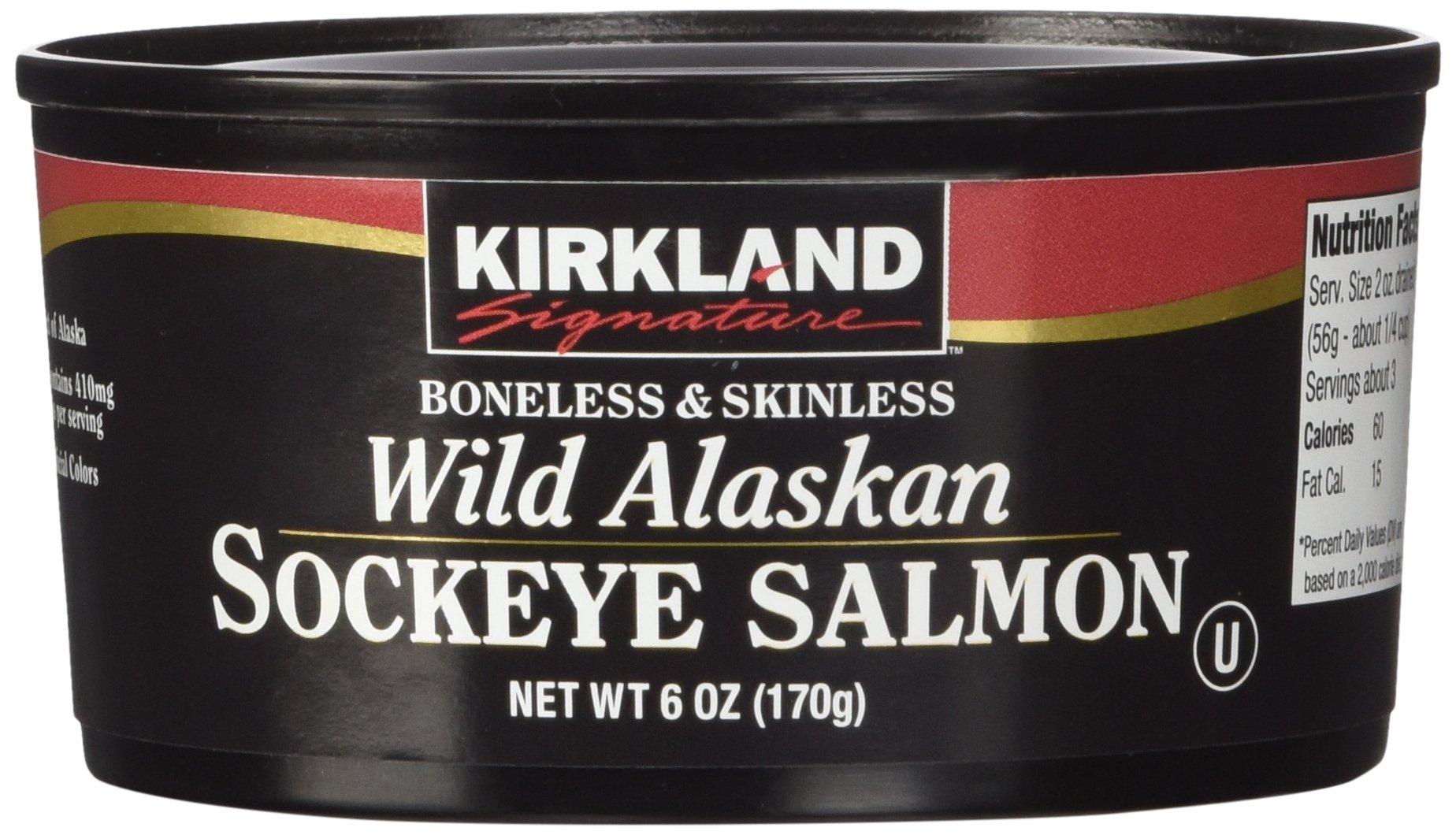 Kirkland Signature Wild Alaskan Sockeye Salmon, 6oz, Pack of 3