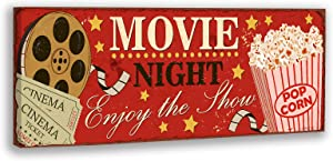 Movie Night Canvas Wall Art Cinema Sign Posters Film Reels Popcorn Poster Personalized Movie Theatre Sign Home Sign Decorations for Living Room Bedroom Vintage Movie Posters for Theater Room No Frame