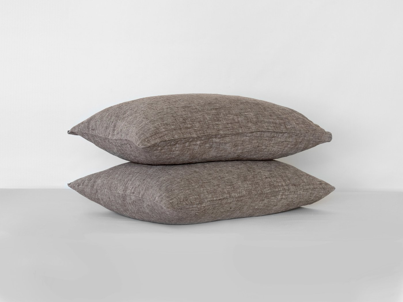 BEALINEN Linen Pillowcases Shams 2 pcs with Inside Pocket Closure Size SQUARE 26''x26'' Dark Coffee Stone Gray Color Washed Softened European Linen