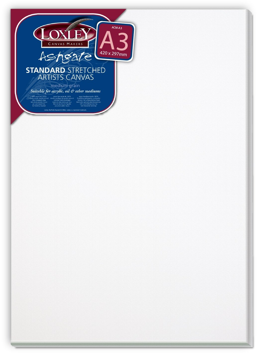 Loxley Colourfull Arts Ashgate - Tele da disegno A3 tradizionali per artisti, grana media, 18 mm di spessore, colore. Bianco ACM-A3