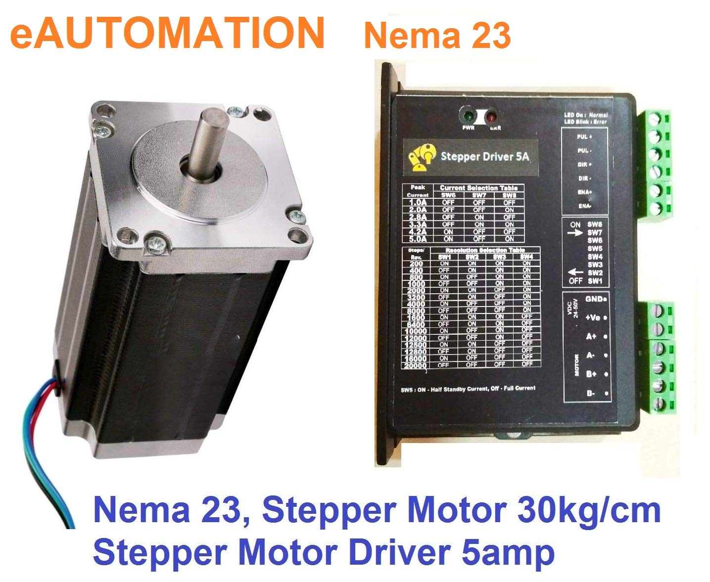 Eautomation Nema 23 Stepper Motor 30kg Cm With Stepper Driver 5amp Kit 1set Bipolar Hybrid Amazon In Industrial Scientific