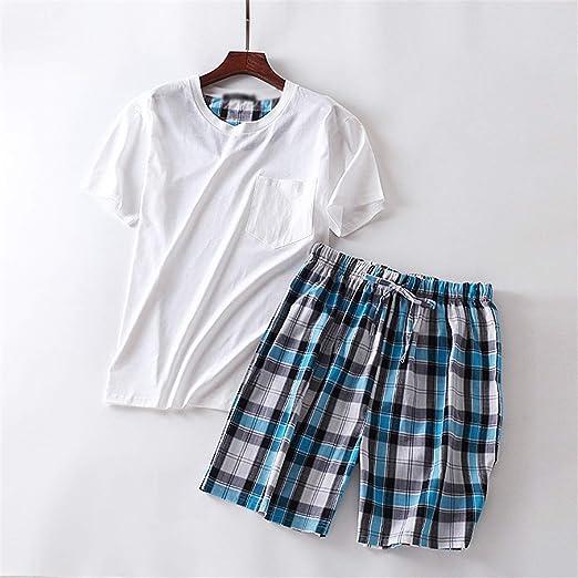 bca91be77bcf Tellusa Summer Short Pyjamas Sets for Male Short Sleeve Nightwear Men  Pajama Sets 100% Cotton O-Neck Sleepwear Pijama Hombre at Amazon Men's  Clothing store: