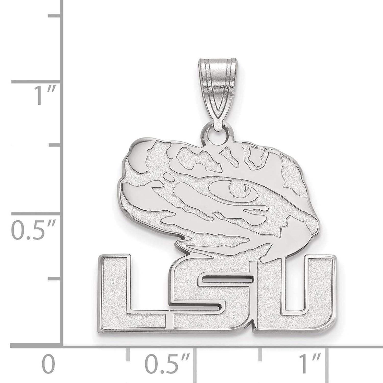 925 Sterling Silver Rhodium-plated Laser-cut Louisiana State University Large Pendant