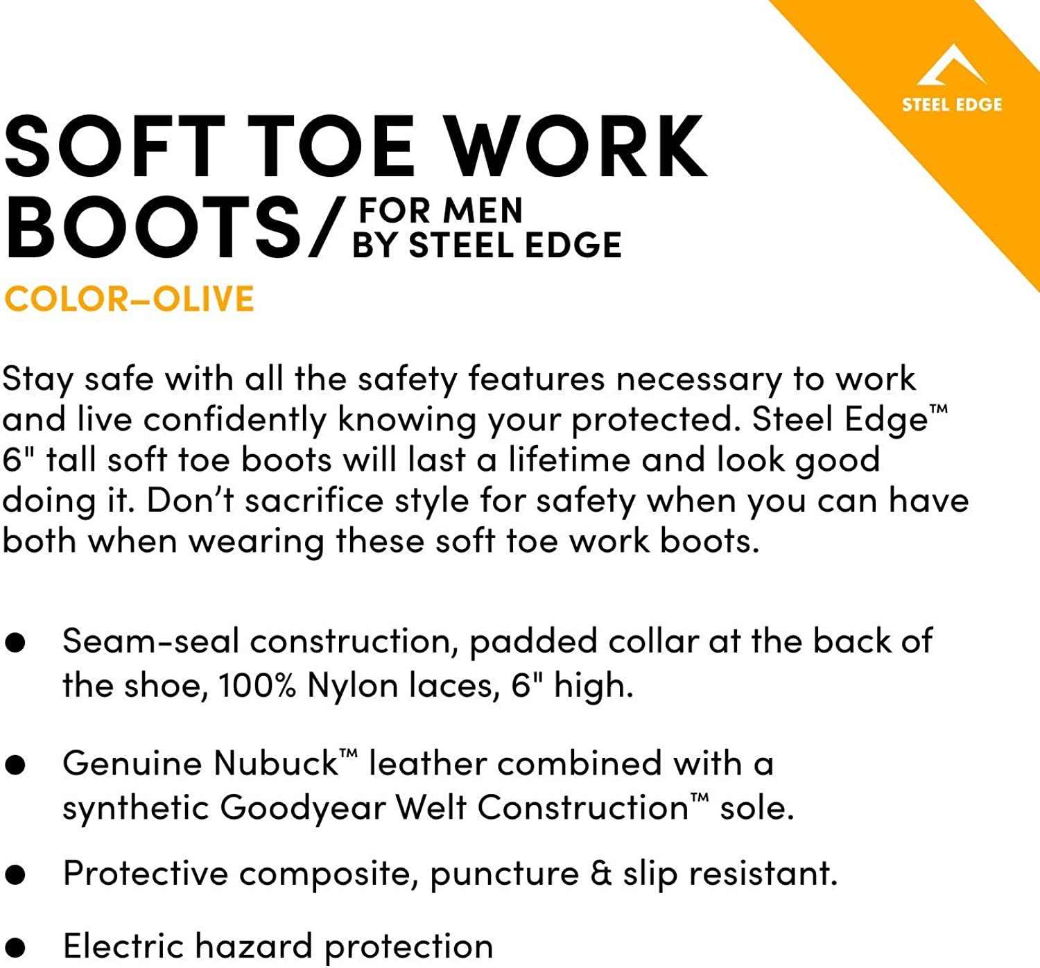 "6"" Men's Soft Toe Work Boots - Stylish Leather Work Boots - Lace Up, Oil and Slip Resistant Boots with Rubber Outsoles Olive"