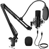 PREUP USB Micrófono Juegos de Micrófonos Profesionales para Podcasts con Soporte de Micrófono, Amortiguador, Parabrisas…