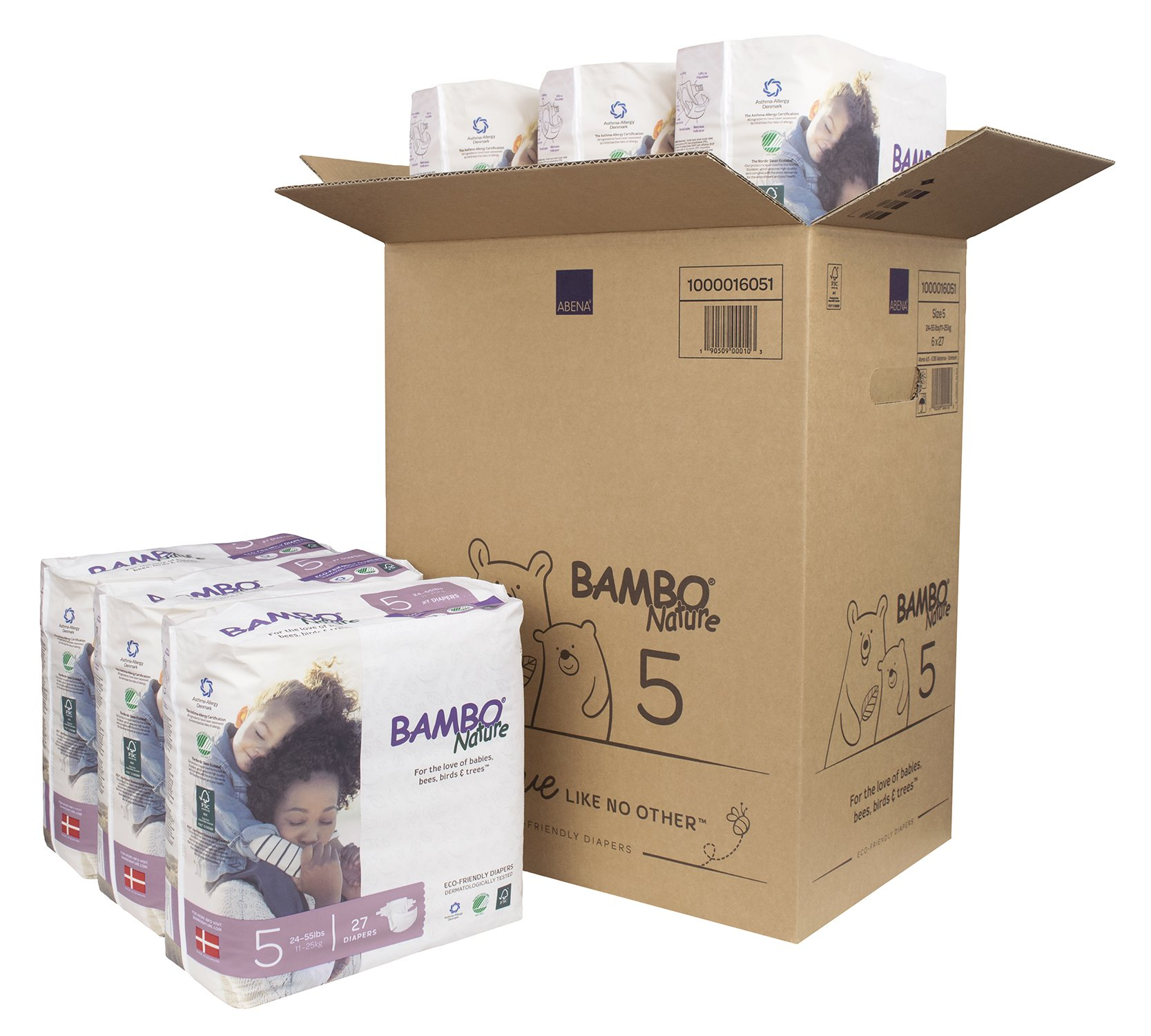 Bambo Nature Eco Friendly Premium Baby Diapers for Sensitive Skin, Size 5 (24-55 lbs), 162 Count (6 Packs of 27) by Bambo Nature (Image #1)
